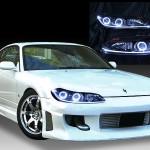 日産 S15 シルビア 純正HID車用 純正ドレスアップヘッドライト 4連LEDイカリング&インナーブラッククロム&LEDアクリルイルミファイバー&ウィンカークリア