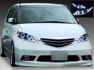 ホンダ RR系 エリシオン 前期/中期 純正HID車・AFS無し車用 純正ドレスアップヘッドライト 8連LEDイカリング&超高輝度白色LED増設&WアクリルLEDイルミファイバー&インナーブラッククロム