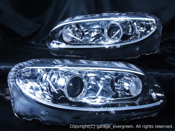 マツダ NCEC ロードスター 前期 純正HID車用 純正ドレスアップヘッドライト 4連LEDイカリング&LEDアクリルイルミファイバー&ウインカークリア加工