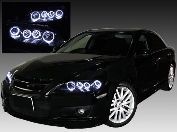 マツダ GG/GY系 アテンザ 純正HID(ディスチャージ・キセノン) ライト内フォグ部無しベース 純正ドレスアップヘッドライト 8連LEDイカリング&インナーブラッククロム