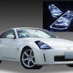 日産 Z33 フェアレディZ 前期 純正HID車用 純正ドレスアップヘッドライト 白色LEDイカリング&インナー/マーカーフルブラッククロム&LEDアクリルイルミファイバー