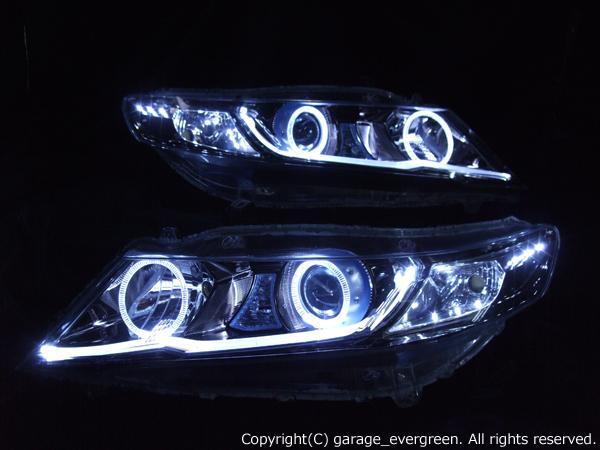 ホンダ RB3/RB4 オデッセイ 前期/後期 純正HID車用 純正ドレスアップヘッドライト 4連LEDイカリング&超高輝度白色LED12発増設&LEDアクリルイルミファイバー