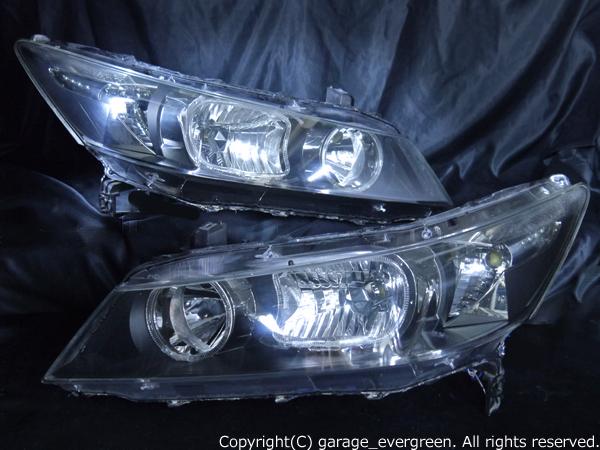 ホンダ RN系 ストリーム 前期/後期 全年式共通 純正HID車用 純正ドレスアップヘッドライト 4連LEDイカリング&超高輝度白色LED8発増設&ウィンカークリア