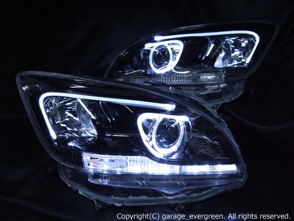 トヨタ マークXジオ 純正HID用 AFS無し車用 純正ドレスアップヘッドライト LEDイカリング&高輝度白色LED18発増設&LEDアクリルイルミファイバー&インナーブラッククロム