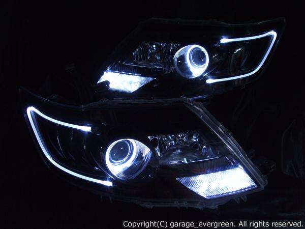 日産 C25系 セレナ 後期 純正HID車用 純正ドレスアップヘッドライト LEDイカリング&高輝度白色LED増設&LEDアクリルイルミファイバー&インナーブラッククロム