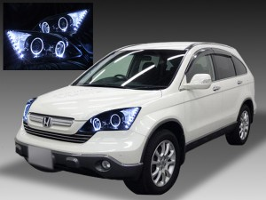 ホンダ CR-V RE3/4型 全年式 前期/後期 共通 AFS無し車用 純正ドレスアップヘッドライト 4連LEDイカリング&超高輝度白色LED16発増設&インナーブラッククロム