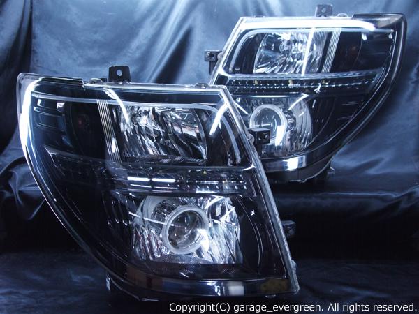 日産 E51系エルグランド 中期/後期(マルチリフレクタータイプ) 純正ドレスアップヘッドライト 2連CCFLイカリング&Hi/Low切換え式バイキセノンプロジェクターインストール&高輝度白色LED18発増設&LEDアクリルイルミファイバー&インナーブラッククロム