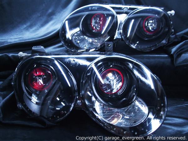 ベントレー コンチネンタルGT/コンチネンタルGTC 純正ドレスアップヘッドライト プロジェクターレッドアイ&プロジェクターレッドフレーム&高輝度白色LED34発増設&高輝度橙色LED34発増設&インナーブラッククロム