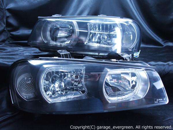 日産 R34系 スカイライン/GT-R 後期 純正HID車用 純正ドレスアップヘッドライト 4連白色LEDスクエアイカリング