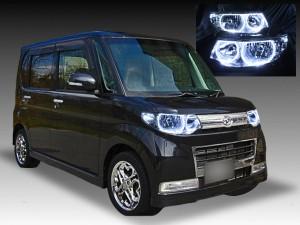 ダイハツ L375S/L385S タントカスタム 純正HID車用 純正ドレスアップヘッドライト 4連LEDイカリング&高輝度白色LED増設