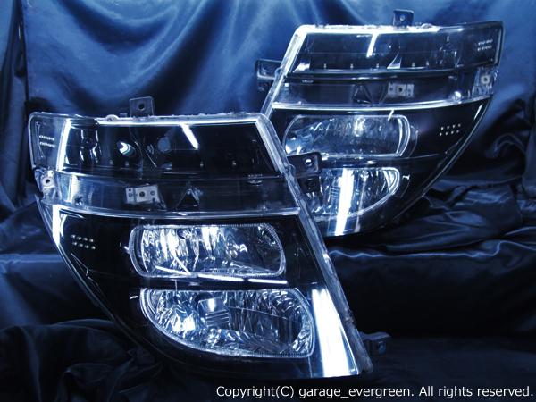 日産 E51系 エルグランド 前期 純正HID車用 純正ドレスアップヘッドライト 4連LEDイカリング&高輝度白色LED44発増設&インナーブラッククロム