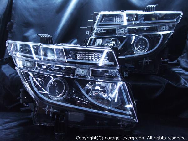 日産 E52系 エルグランド 前期 純正HID車用 AFS有り車用 純正ドレスアップヘッドライト 2連LEDイカリング&インナーブラッククロム&高輝度白色LED12発増設&LEDアクリルイルミファイバー