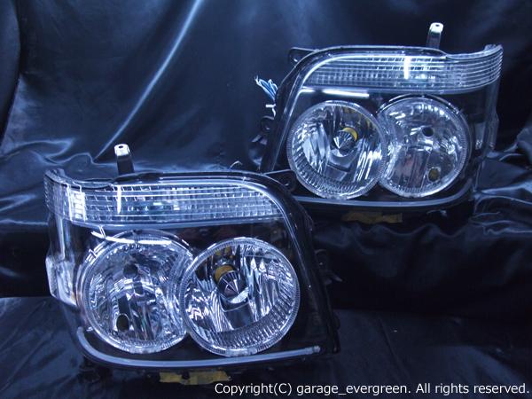 ダイハツ S320G/S330G系 アトレーワゴン前期/後期 全グレード 純正HID車用 純正ドレスアップヘッドライト 4連LEDイカリング&LEDアクリルイルミファイバー&ウインカークリア加工
