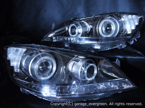 ホンダ KB1 レジェンド 全グレード対応 純正ドレスアップヘッドライト 4連LEDイカリング&高輝度白色LED30発増設&高輝度橙色LED16発増設