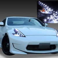日産 Z34 フェアレディZ 純正HID車用 純正ドレスアップヘッドライト 2連LEDイカリング&高輝度白色LED18発増設