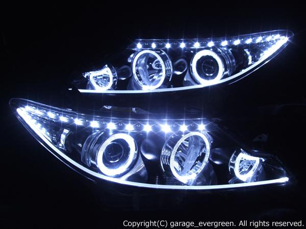 トヨタ 50系 エスティマ 中期・後期 純正HID車用 AFS無し車用 純正ドレスアップヘッドライト 6連LEDイカリング&高輝度白色LED32発増設&高輝度橙色LED22発増設&LEDアクリルイルミファイバー
