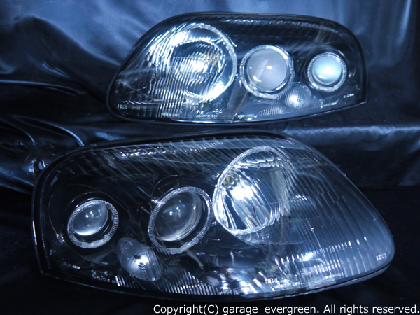 トヨタ 80系 スープラ 前期 純正ドレスアップヘッドライト 超高輝度6連白色LEDイカリング&インナーブラッククロム
