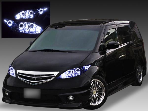 ホンダ RR1~4 エリシオン 前期/中期 純正HID用 AFS無し車用 純正ドレスアップヘッドライト 8連LEDイカリング&高輝度白色LED増設