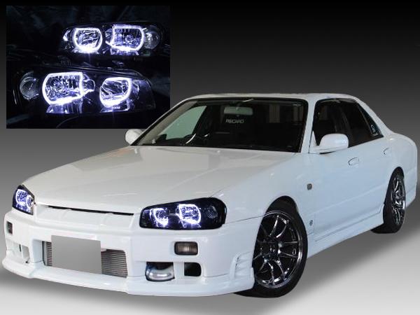 日産 R34系 スカイライン(クーペ・セダン)前期 GT-R 前期 純正HID車用 純正ドレスアップヘッドライト 4連スクエアLEDイカリング&インナーブラッククロム