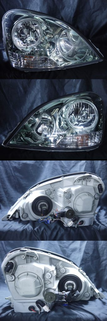 トヨタ 30系 セルシオ 前期 純正HID車用 純正ドレスアップヘッドライト 4連LEDイカリング&高輝度白色LED24発増設