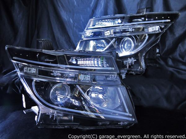 日産 E52系 エルグランド 前期 純正HID車用 AFS有り車用 純正ドレスアップヘッドライト 2連LEDイカリング&インナーブラッククロム&高輝度白色LED18発増設&LEDアクリルイルミファイバー