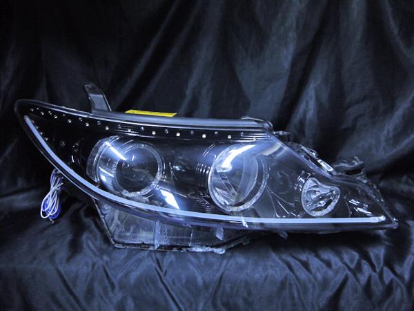 トヨタ 50系 エスティマ 中期/後期 純正HID車用 AFS無し車用 純正ドレスアップヘッドライト 6連LEDイカリング&高輝度白色LED32発増設&高輝度橙色LED22発増設&LEDアクリルイルミファイバー&インナーブラッククロム