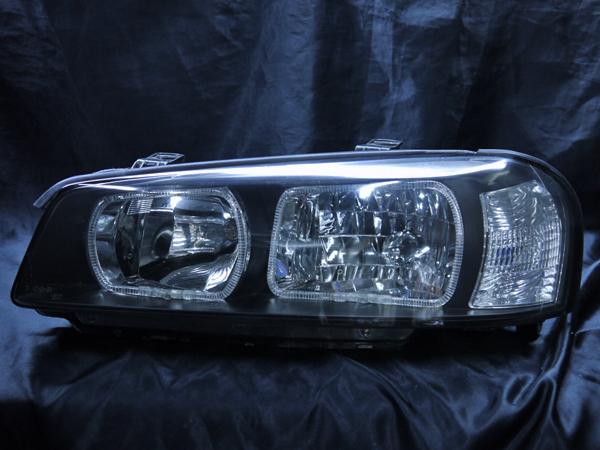 日産 R34系 スカイライン 前期/後期 純正ハロゲン車用 純正ドレスアップヘッドライト 4連白色LEDスクエアイカリング