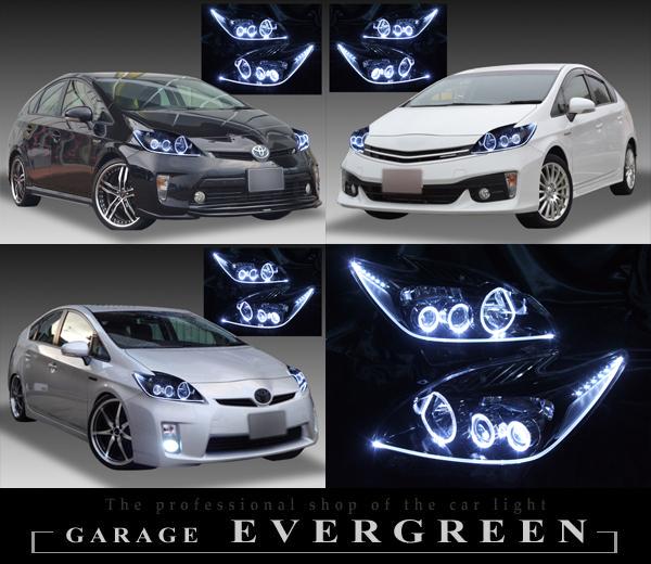トヨタ ZVW30系 プリウス 前期 純正LEDロービーム車用 純正ドレスアップヘッドライト 6連LEDイカリング&超高輝度白色LED12発増設&LEDアクリルイルミファイバー&インナーブラッククロム