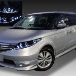 ホンダ RR系 エリシオン 後期 純正HID車・AFS無し車用 純正ドレスアップヘッドライト 8連LEDイカリング&超高輝度白色LED増設&WアクリルLEDイルミファイバー&インナーブラッククロム
