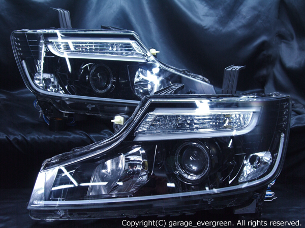 ホンダ RKステップワゴン 後期 純正HID車用 純正ドレスアップヘッドライト インナーブラッククロム&白色LEDイカリング&超高輝度白色LED増設&LEDアクリルイルミファイバー&ポジション部ラインLED白/橙色替え