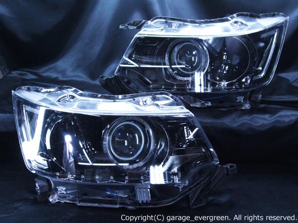スズキ MH34S/MH44S ワゴンR スティングレー 純正HID車用 純正ドレスアップヘッドライト 2連LEDイカリング&高輝度白色LED18発増設&純正LEDポジション色替え&インナーブラッククロム