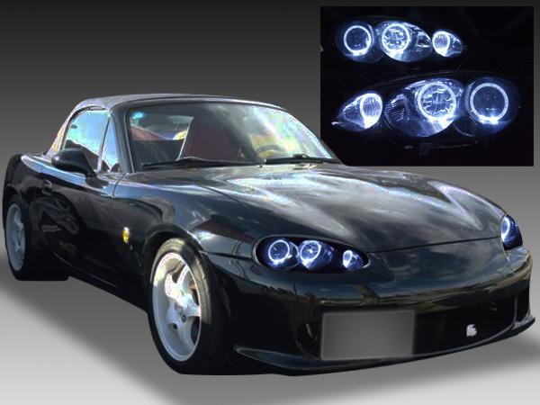 マツダ NB6C/NB8C ロードスター 後期 純正ハロゲン車用 純正ドレスアップヘッドライト 6連LEDイカリング&インナーブラッククロム
