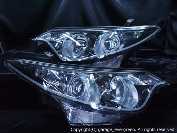 トヨタ 50系 エスティマ 前期 純正HID車 AFS有り車用 20系 エスティマハイブリッド 前期 純正HID車用 純正ドレスアップヘッドライト 4連LEDイカリング&高輝度白色LED増設&LEDアクリルイルミファイバー
