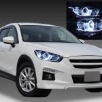 マツダ KE系 CX-5 前期 純正HID車 AFS有り車用 純正ドレスアップヘッドライト LEDイカリング&高輝度白色LED増設&LEDアクリルイルミファイバー