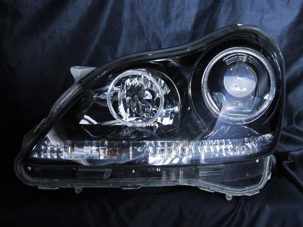 トヨタ 18系 クラウンマジェスタ 前期/後期 ナイトビューアシスト無し車用 純正ドレスアップヘッドライト 4連LEDイカリング&超高輝度白色LED22発増設&超高輝度橙色LED22発増設&インナーブラッククロム