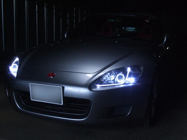 S2000 アクリルイルミファイバー&イカリング&ブラッククロム ヘッドライト加工