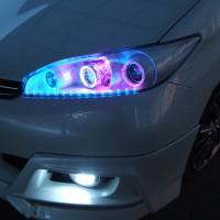 20系ウィッシュ バイキセノンCCFLプロジェクターインストール&パールホワイト塗装&LED ヘッドライト加工