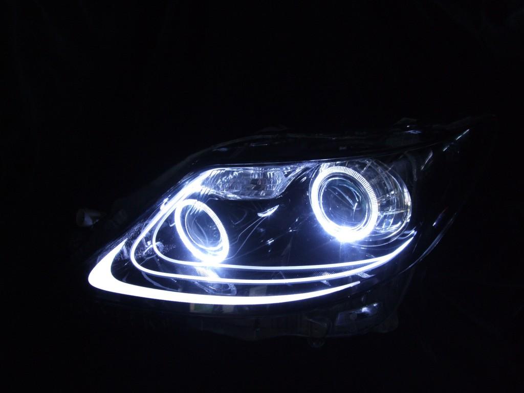 LS460 ブラスト加工済み LEDイカリング&アクリルファイバー&ブラッククロム ヘッドライト