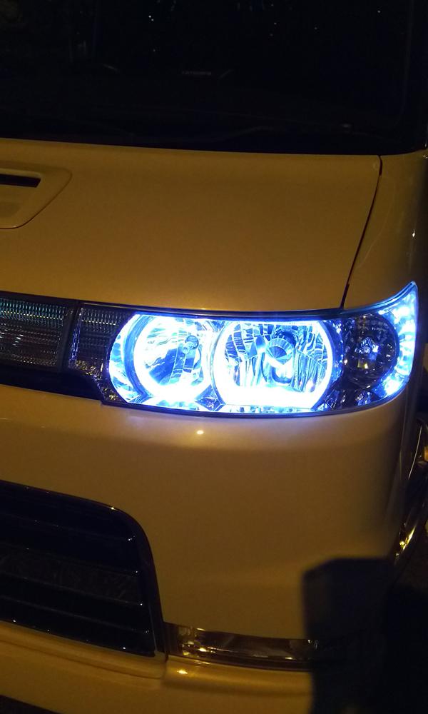 L350Sタントカスタム,LEDイカリング,ヘッドライト取り付け