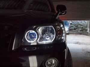 RFステップワゴン,インナーブラック,LEDイカリング,HID,ヘッドライト,車体取り付け