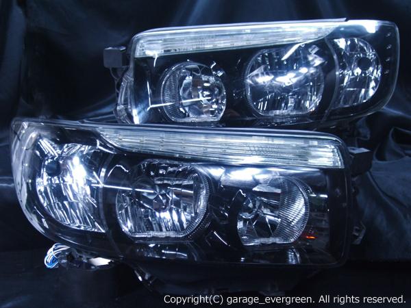 スバル SG系 フォレスター 後期 純正HID車用 純正ドレスアップヘッドライト 4連LEDイカリング&超高輝度白色LED32発増設&インナーブラッククロム