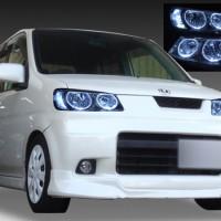 ホンダ JB3/4 ライフダンク 純正ドレスアップヘッドライト 4連LEDイカリング&高輝度白色LED12発増設&ウインカークリア加工