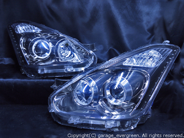 トヨタ 10系 ウィッシュ後期 純正HID車用 純正ドレスアップヘッドライト 4連LEDイカリング&高輝度白色LED24発増設