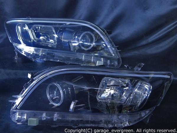 トヨタ A33W/A38W ヴァンガード 前期/後期共通 純正HID車用 純正ドレスアップヘッドライト 4連LEDイカリング&LEDアクリルイルミファイバー&インナーブラッククロム