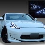 日産 Z34 フェアレディZ 前期/後期 純正HID車用純正ドレスアップヘッドライト LEDイカリング&高輝度白色LED18発増設&インナーブラッククロム