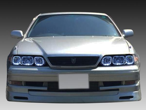 トヨタ 100系 マーク2 前期/後期 全年式 純正HID車用 純正ドレスアップヘッドライト 6連LEDイカリング&インナーブラッククロム