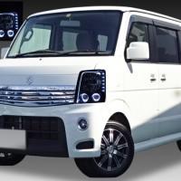 スズキ DA64W エブリィワゴン 純正ハロゲン車用 純正ドレスアップヘッドライト 4連LEDイカリング&高輝度白色LED12発増設&LEDアクリルイルミファイバー&インナーブラッククロム