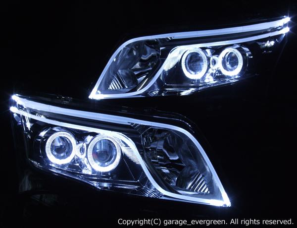 ダイハツ LA100S ムーヴカスタム 後期 純正LEDロービーム車用 車種別専用 純正ドレスアップヘッドライト 4連LEDイカリング&ダブルLEDアクリルイルミファイバー 仕様