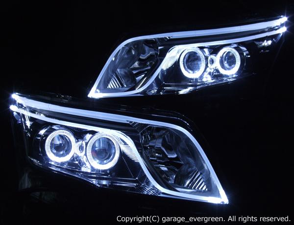 ダイハツ LA100S ムーヴカスタム 後期 純正LEDロービーム車用 車種別専用 純正ドレスアップヘッドライト 4連LEDイカリング&ダブルLEDアクリルイルミファイバー