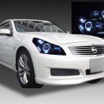 日産 V36 スカイライン 前期 セダンベース 純正HID用 AFS有車用 純正ドレスアップヘッドライト LEDイカリング&高輝度白色LED14発増設&インナーブラッククロム